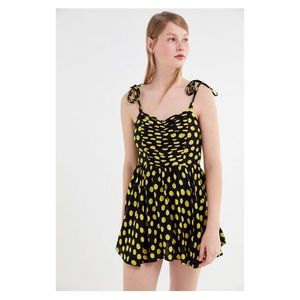 UO Ronnie Ruched Tie-Shoulder Romper